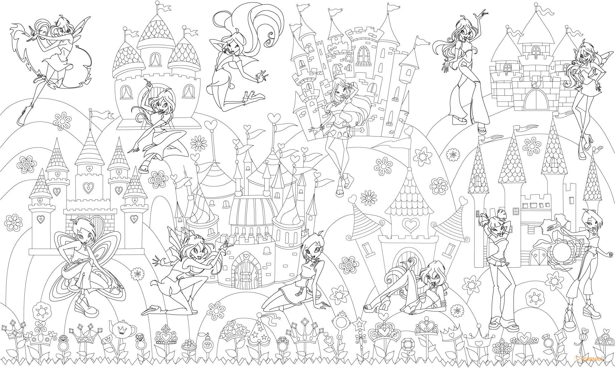 Купить Ребенку, Обои-раскраски 'Принцессы Винкс' (60 х 100 см), Bradex