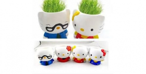 Подарок Керамический травянчик с семенами Hallo Kitty (Хеллоу Китти)