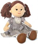 Кукла Карина в коричневом платье в горошек