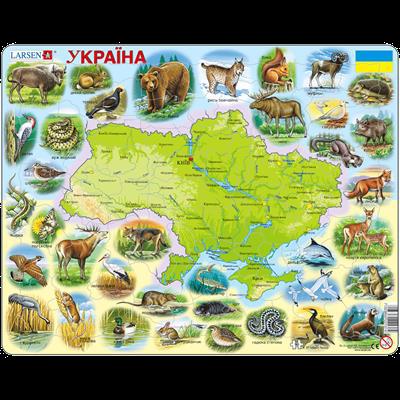 Купить Пазл 'Карта Украины - животный мир', Larsen