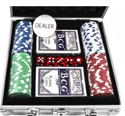 Купить Набор для покера: 100 фишек, 2 колоды в алюминиевом кейсе, Duke