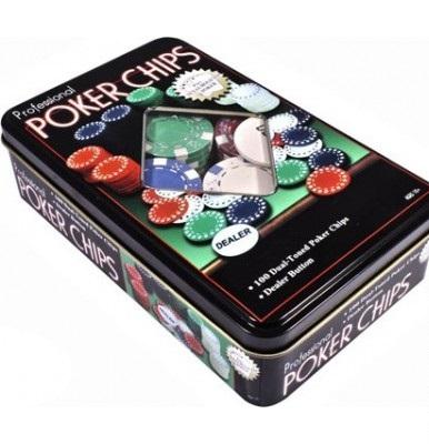 Купить Набор для покера в оловянном кейсе (100 фишек), Duke