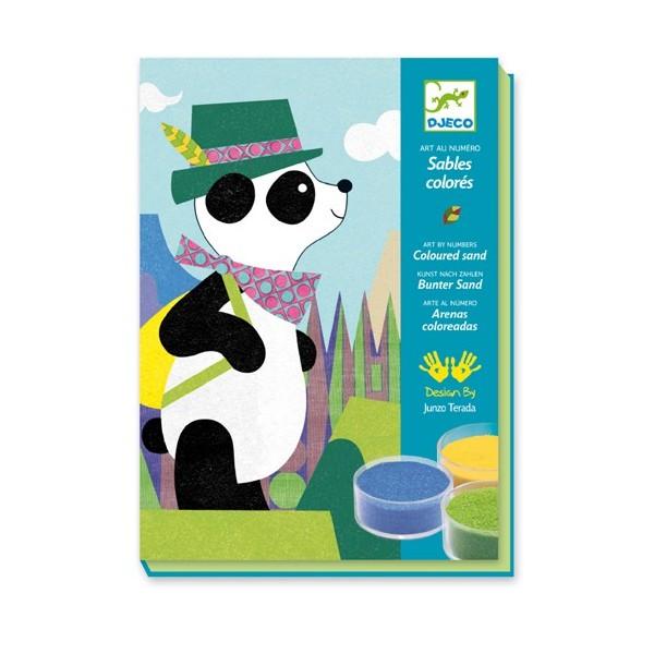 Купить Наборы для рисования, Комплект рисования цветным песком 'Панда и его друзья', DJECO