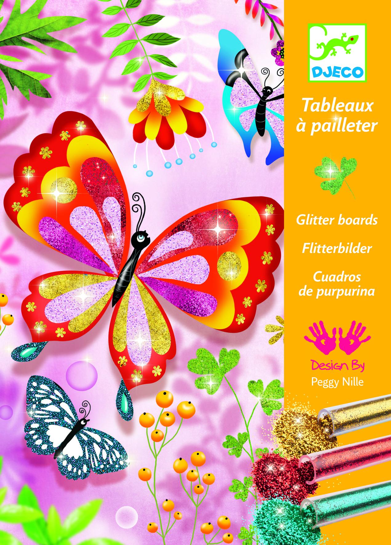 Купить Наборы для рисования, Комплект рисования блестками 'Блестящие бабочки', DJECO