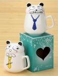Подарок Чашка с крышкой 'Кот в галстуке'