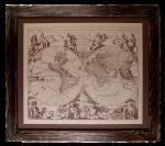 Подарок Картина на коже 'Карта мира'