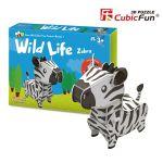 Трехмерная головоломка-конструктор CubicFun  'Дикие животные. Зебра'