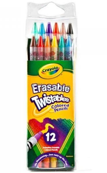 12 цветных карандашей-вертушек с ластиками
