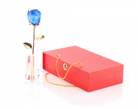Подарок Роза высокая из стекла Сваровски (Голубая)