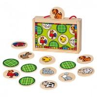 Деревянный игровой набор Bino 'Найди пару. Животные'