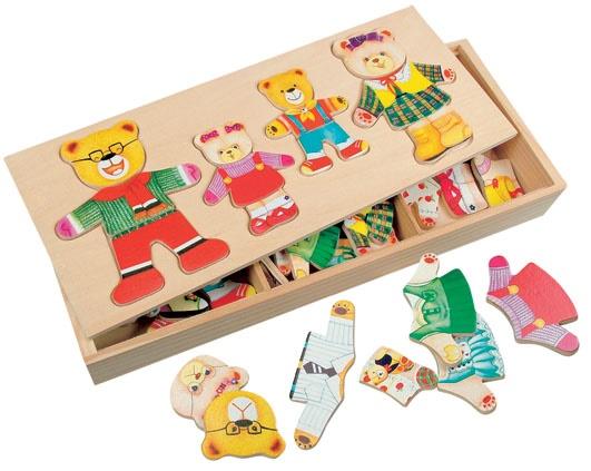 Купить Развивающая деревянная игра Bino 'Шкаф для одежды семьи медведей'
