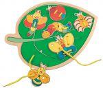 Деревянная шнуровка Bino 'Листик с бабочками'