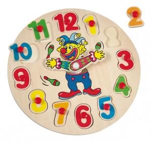Деревянный пазл Bino 'Часы с клоуном'