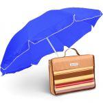 Подарок Комплект: Зонт с наклоном для пляжа Anti-UV 200 см и Коврик для пикника Кемпинг НВ-30