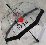 Подарок Зонт - трость 'I love rain' прозрачный