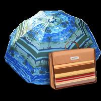 Подарок Комплект: Пляжный зонт с наклоном Anti-UV Пальмы 200 см и Коврик для пикника Кемпинг НВ-30