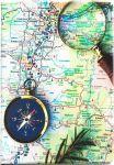 Подарок Обложка для паспорта 'Карта с компасом'