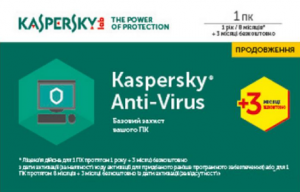Программа Kaspersky Anti-Virus 2017 1 Desktop 1 year + 3 mon. Renewal Card (KL1171OOABR17)