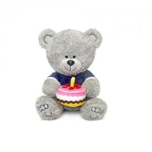 Мягкая игрушка - Медвежонок Ники с тортом (музыкальная, 21,5 см)