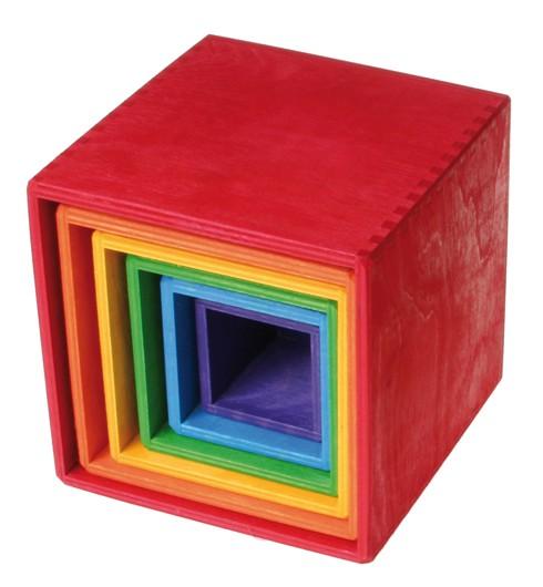 Купить Grimm's. Пирамидка 'Квадратная', разноцветная, большая, Grimms