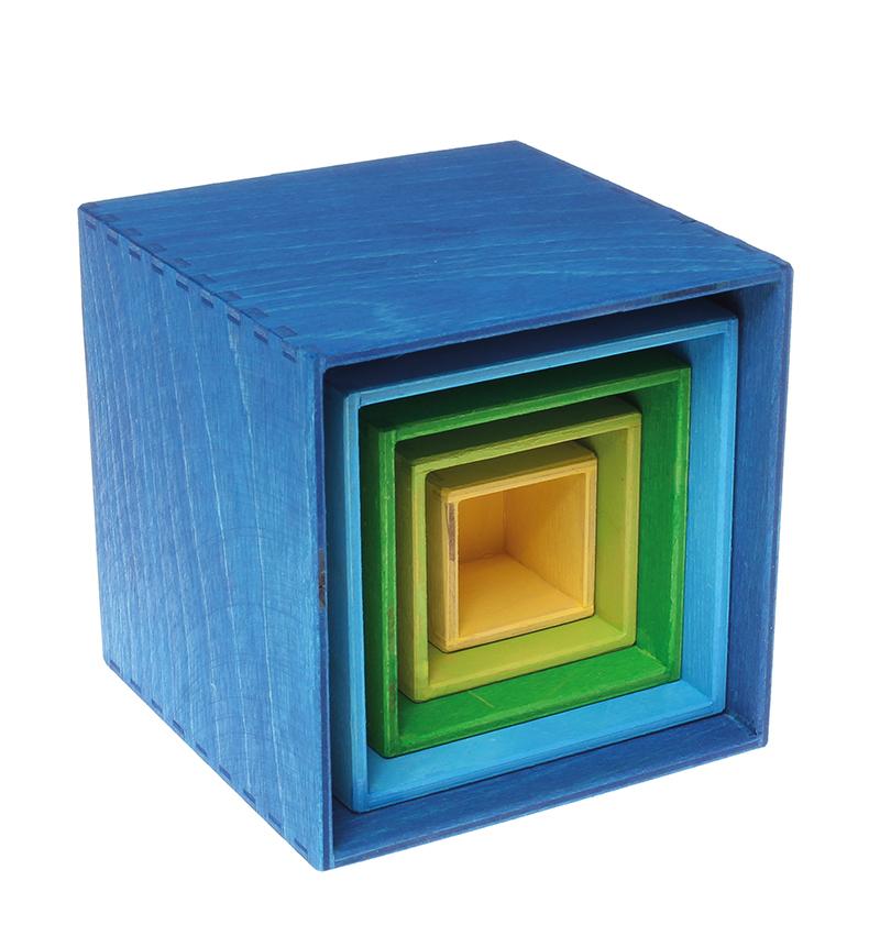 Купить Grimm's. Пирамидка Квадратная, сине-зеленая, маленькая, Grimms