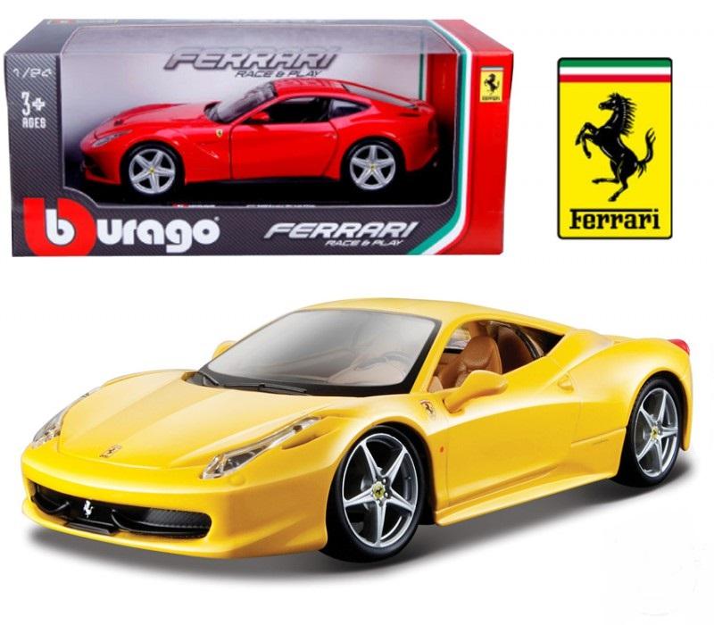 Купить Автомодель - 458 ITALIA (желтый, красный, 1:24), BBURAGO