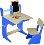 Парта с мольбертом растущая и стульчик Финекс синие (103)