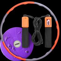 Супер-комплект для фитнеса: Хула-хуп, Скакалка и Вращающийся диск