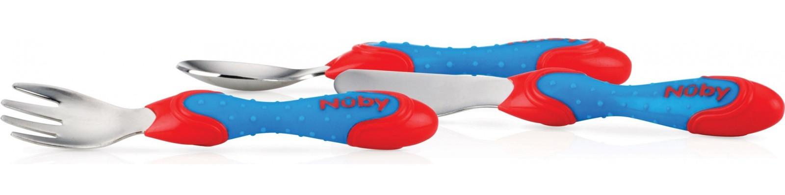 Купить Набор: ложка, вилка и нож Nuby сине-красные
