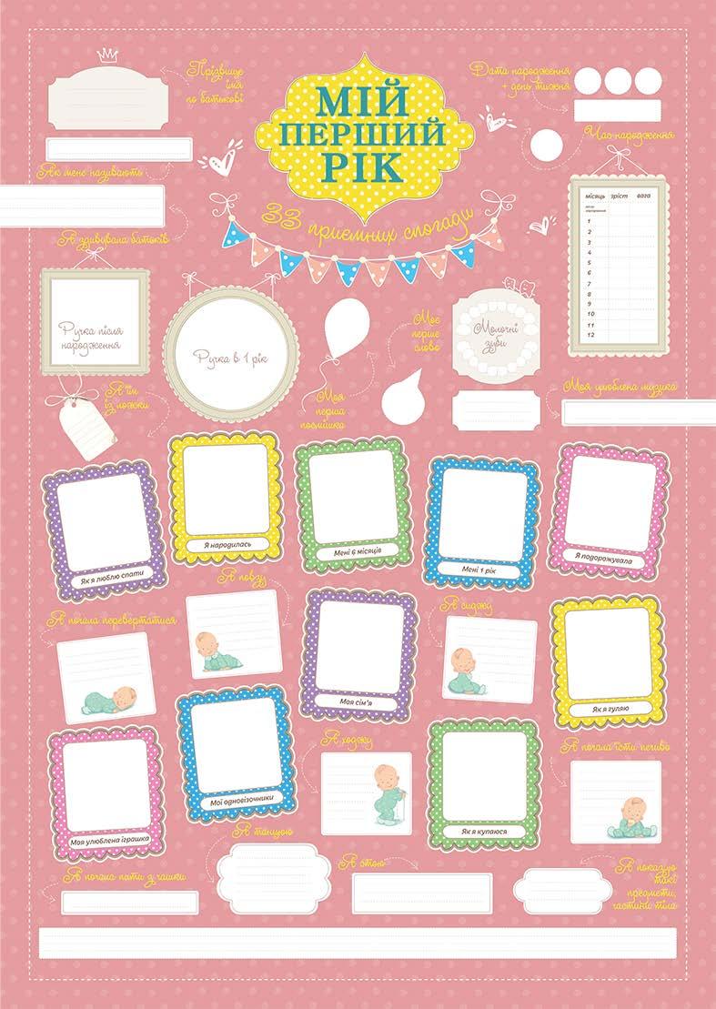 Купить Плакат 'Мій перший рік. 33 приємних спогади'. Для дівчинки, Основа