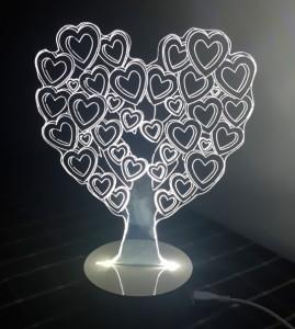 Подарок Светильник 3D 'Сердце'