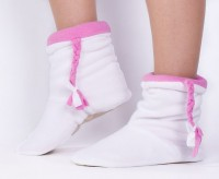 Подарок Тапочки 'Косички' флисовые (белые с розовыми косичками)