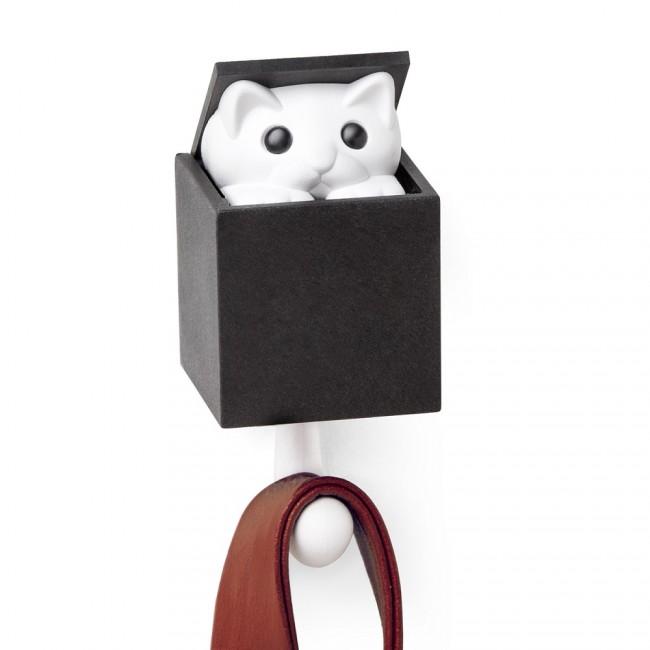 Купить Крючок настенный Qualy 'Kitt-a-boo' белый/черный (QL10210-WH-BK)