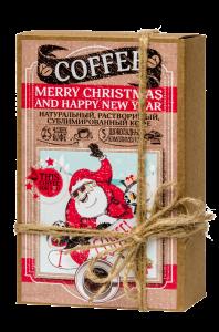 Подарок Кофейный набор 'Merry Christmas and Happy New Year' (50 гр кофе + 5 плиток с комплиментами)