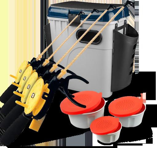 Купить Суперкомплект 'Зимняя рыбалка': ящик, мотыльницы, 4 удочки, AQUATECH PLASTICS