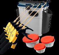 Супер-комплект 'Зимняя рыбалка': ящик, мотыльницы, 4 удочки