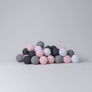 Подарок Гирлянда хлопковая CottonBallLights 'Pink-Grey' (35 шариков)
