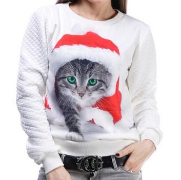 Купить Свитшот белый с принтом 'Новогодний котик', China Factory