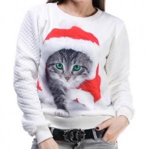 Подарок Свитшот белый с принтом 'Новогодний котик'