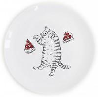 Подарок Тарелка 'Кот с пиццей'