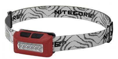 Купить Фонарь налобный Nitecore NU10 (4xLED + RED LED, 160 люмен, 4 режимов, USB), красный (6-1231-red)