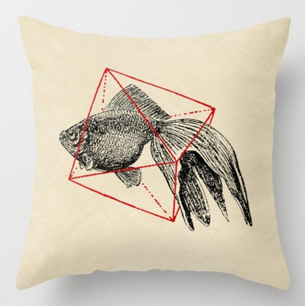 Купить Интерьерная подушка 'Fish In Geometrics', Risha Myasov