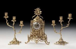 Подарок Набор: часы с двумя канделябрами на 3 свечи Virtus (5520-4085)