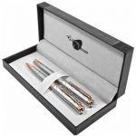 Набор подарочный Gianni Terra: ручка перьевая + шариковая 'Silver With Gold' (HH122/B-F)