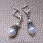 Подарок Серьги 'Риана' (белый жемчуг, серебро) 2,8 см