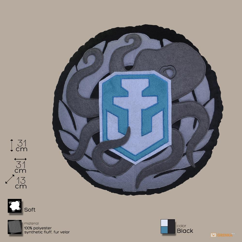 Купить Декоративная подушка, лого игры 'World of Warships', круглая (WG043331), World of Tanks