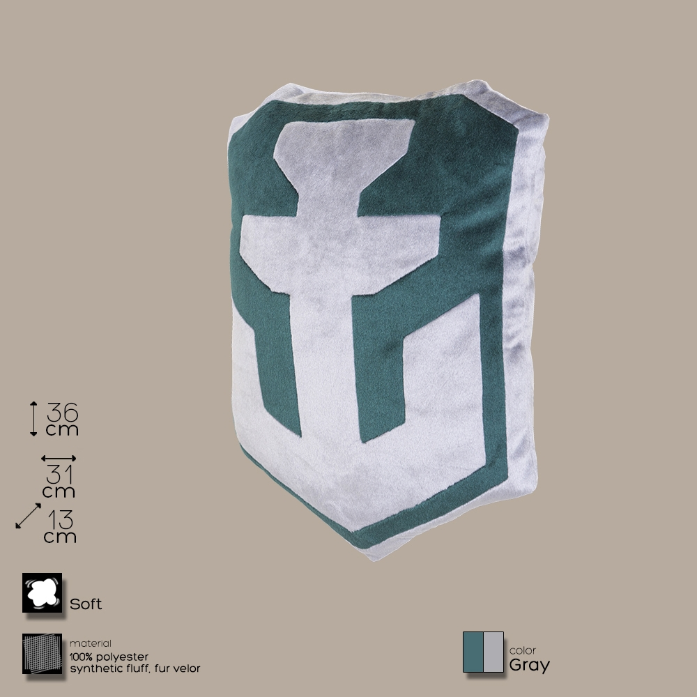 Купить Декоративная подушка, лого игры 'World of Warships' серо-зеленая (WG043333), World of Tanks