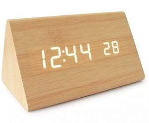 Подарок Часы 'Wooden Clock' светлый треугольный