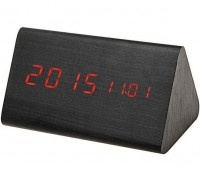 Подарок Часы 'Wooden Clock' темный треугольный