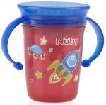 Чашка-непроливайка Nuby 360 с ручками и крышкой, 240 мл (10410red)
